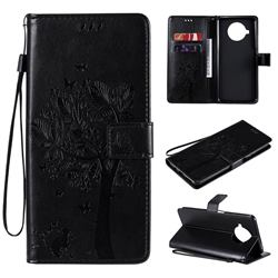 Embossing Butterfly Tree Leather Wallet Case for Xiaomi Mi 10T Lite 5G - Black