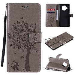 Embossing Butterfly Tree Leather Wallet Case for Xiaomi Mi 10T Lite 5G - Grey