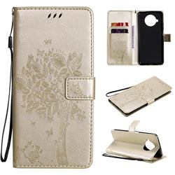 Embossing Butterfly Tree Leather Wallet Case for Xiaomi Mi 10T Lite 5G - Champagne