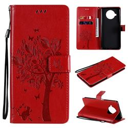 Embossing Butterfly Tree Leather Wallet Case for Xiaomi Mi 10T Lite 5G - Red