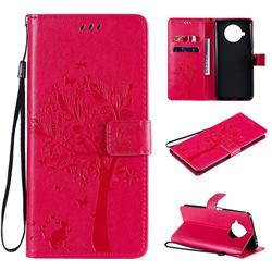 Embossing Butterfly Tree Leather Wallet Case for Xiaomi Mi 10T Lite 5G - Rose