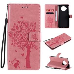 Embossing Butterfly Tree Leather Wallet Case for Xiaomi Mi 10T Lite 5G - Pink