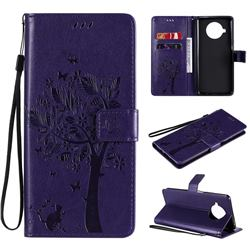 Embossing Butterfly Tree Leather Wallet Case for Xiaomi Mi 10T Lite 5G - Purple