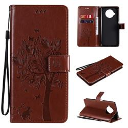 Embossing Butterfly Tree Leather Wallet Case for Xiaomi Mi 10T Lite 5G - Coffee