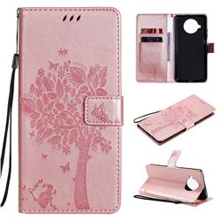 Embossing Butterfly Tree Leather Wallet Case for Xiaomi Mi 10T Lite 5G - Rose Pink