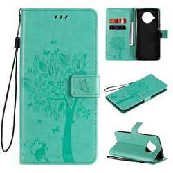 Embossing Butterfly Tree Leather Wallet Case for Xiaomi Mi 10T Lite 5G - Cyan