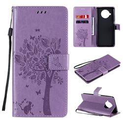 Embossing Butterfly Tree Leather Wallet Case for Xiaomi Mi 10T Lite 5G - Violet