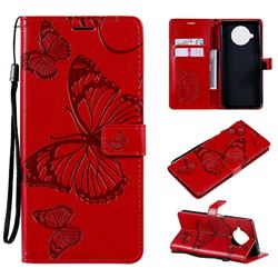 Embossing 3D Butterfly Leather Wallet Case for Xiaomi Mi 10T Lite 5G - Red