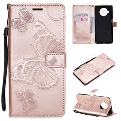 Embossing 3D Butterfly Leather Wallet Case for Xiaomi Mi 10T Lite 5G - Rose Gold