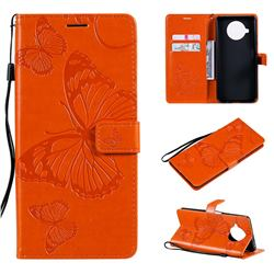 Embossing 3D Butterfly Leather Wallet Case for Xiaomi Mi 10T Lite 5G - Orange