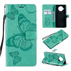 Embossing 3D Butterfly Leather Wallet Case for Xiaomi Mi 10T Lite 5G - Green