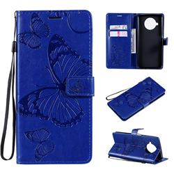 Embossing 3D Butterfly Leather Wallet Case for Xiaomi Mi 10T Lite 5G - Blue