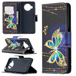 Golden Shining Butterfly Leather Wallet Case for Xiaomi Mi 10T Lite 5G