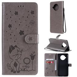 Embossing Bee and Cat Leather Wallet Case for Xiaomi Mi 10T Lite 5G - Gray
