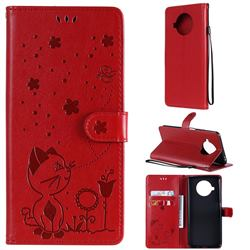 Embossing Bee and Cat Leather Wallet Case for Xiaomi Mi 10T Lite 5G - Red