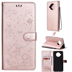 Embossing Bee and Cat Leather Wallet Case for Xiaomi Mi 10T Lite 5G - Rose Gold