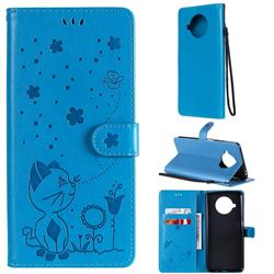 Embossing Bee and Cat Leather Wallet Case for Xiaomi Mi 10T Lite 5G - Blue