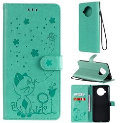 Embossing Bee and Cat Leather Wallet Case for Xiaomi Mi 10T Lite 5G - Green