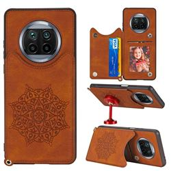 Luxury Mandala Multi-function Magnetic Card Slots Stand Leather Back Cover for Xiaomi Mi 10T Lite 5G - Brown