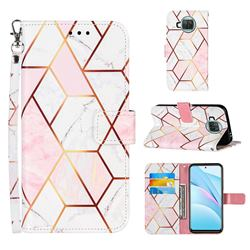 Pink White Stitching Color Marble Leather Wallet Case for Xiaomi Mi 10T Lite 5G