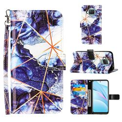 Starry Blue Stitching Color Marble Leather Wallet Case for Xiaomi Mi 10T Lite 5G