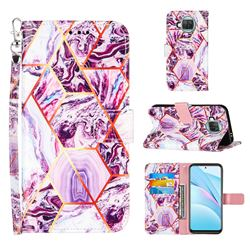 Dream Purple Stitching Color Marble Leather Wallet Case for Xiaomi Mi 10T Lite 5G