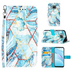 Lake Blue Stitching Color Marble Leather Wallet Case for Xiaomi Mi 10T Lite 5G