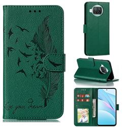 Intricate Embossing Lychee Feather Bird Leather Wallet Case for Xiaomi Mi 10T Lite 5G - Green