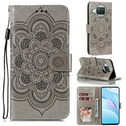 Intricate Embossing Datura Solar Leather Wallet Case for Xiaomi Mi 10T Lite 5G - Gray