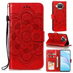Intricate Embossing Datura Solar Leather Wallet Case for Xiaomi Mi 10T Lite 5G - Red