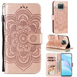 Intricate Embossing Datura Solar Leather Wallet Case for Xiaomi Mi 10T Lite 5G - Rose Gold