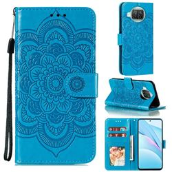 Intricate Embossing Datura Solar Leather Wallet Case for Xiaomi Mi 10T Lite 5G - Blue