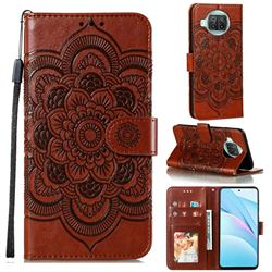 Intricate Embossing Datura Solar Leather Wallet Case for Xiaomi Mi 10T Lite 5G - Brown