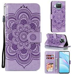 Intricate Embossing Datura Solar Leather Wallet Case for Xiaomi Mi 10T Lite 5G - Purple