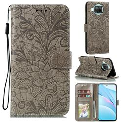 Intricate Embossing Lace Jasmine Flower Leather Wallet Case for Xiaomi Mi 10T Lite 5G - Gray