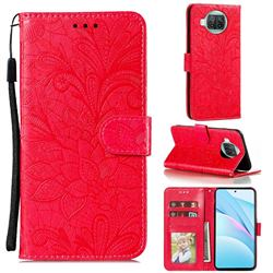 Intricate Embossing Lace Jasmine Flower Leather Wallet Case for Xiaomi Mi 10T Lite 5G - Red
