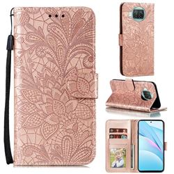 Intricate Embossing Lace Jasmine Flower Leather Wallet Case for Xiaomi Mi 10T Lite 5G - Rose Gold