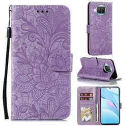 Intricate Embossing Lace Jasmine Flower Leather Wallet Case for Xiaomi Mi 10T Lite 5G - Purple