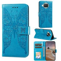 Intricate Embossing Rose Flower Butterfly Leather Wallet Case for Xiaomi Mi 10T Lite 5G - Blue