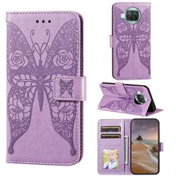 Intricate Embossing Rose Flower Butterfly Leather Wallet Case for Xiaomi Mi 10T Lite 5G - Purple