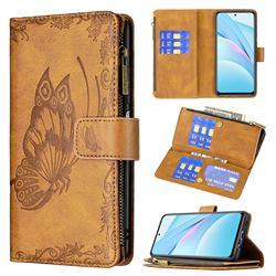 Binfen Color Imprint Vivid Butterfly Buckle Zipper Multi-function Leather Phone Wallet for Xiaomi Mi 10T Lite 5G - Brown