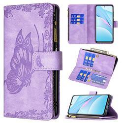 Binfen Color Imprint Vivid Butterfly Buckle Zipper Multi-function Leather Phone Wallet for Xiaomi Mi 10T Lite 5G - Purple
