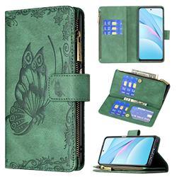 Binfen Color Imprint Vivid Butterfly Buckle Zipper Multi-function Leather Phone Wallet for Xiaomi Mi 10T Lite 5G - Green