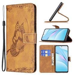 Binfen Color Imprint Vivid Butterfly Leather Wallet Case for Xiaomi Mi 10T Lite 5G - Brown