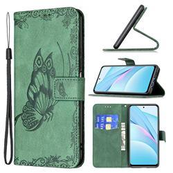Binfen Color Imprint Vivid Butterfly Leather Wallet Case for Xiaomi Mi 10T Lite 5G - Green