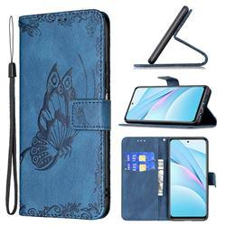 Binfen Color Imprint Vivid Butterfly Leather Wallet Case for Xiaomi Mi 10T Lite 5G - Blue