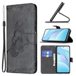 Binfen Color Imprint Vivid Butterfly Leather Wallet Case for Xiaomi Mi 10T Lite 5G - Black