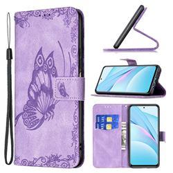Binfen Color Imprint Vivid Butterfly Leather Wallet Case for Xiaomi Mi 10T Lite 5G - Purple