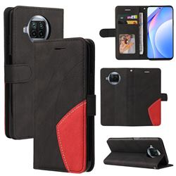 Luxury Two-color Stitching Leather Wallet Case Cover for Xiaomi Mi 10T Lite 5G - Black