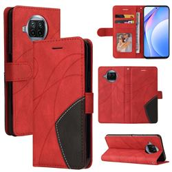 Luxury Two-color Stitching Leather Wallet Case Cover for Xiaomi Mi 10T Lite 5G - Red
